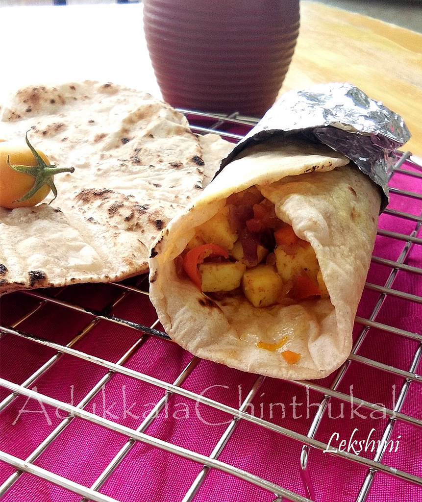 Easy Paneer Chapathi Roll-Stepwise